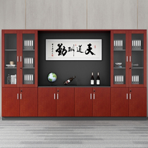 File cabinet wooden office bookcase with lock data file cabinet office cabinet glass door drawer boss background cabinet