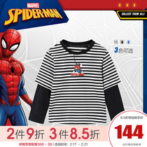 minipeace Peacebird Spider-Man boys long-sleeved T-shirt 2020 spring and autumn new striped fake two