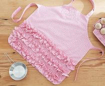 Special lightweight breathable cotton summer little girl handmade apron Pink Plaid paint clothes small apron