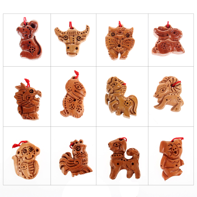 Juyuan Pavilion, natural peach, twelve zodiac necklace, rat, ox, tiger, rabbit, dragon, snake, horse, sheep, monkey, chicken, dog, pig, male and female pendants.