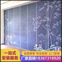 Hotel activity partition wall Custom office mobile aluminum alloy track box sound insulation landscape painting folding screen