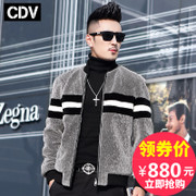 Haining cashmere fur coat fur collar in autumn and winter's male leather men's fashion