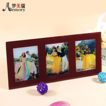 Long three in one ice sculpture crystal red frame crystal wedding photo making glass Crystal Print Studio photo frame