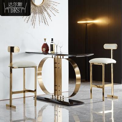 吧台椅轻奢现代简约酒吧椅子酒店会所靠背高脚凳吧凳北欧吧椅家用