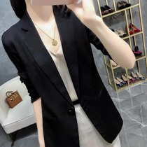 Vanhee black small suit women 2021 spring and summer slim thin section three-point sleeve suit large size womens coat
