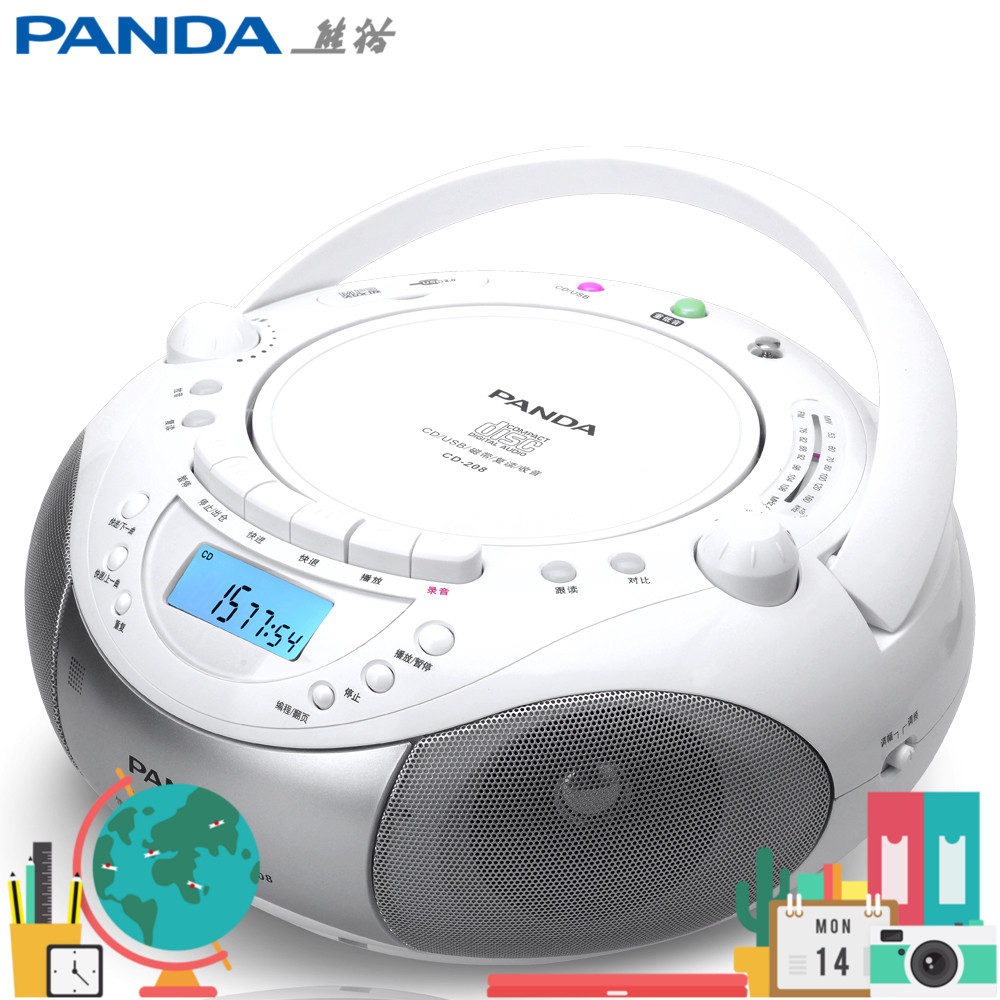 Panda CD-208 Student English Rereading and Playing Tape Recorder CD-ROM USB Player Integrated speaker