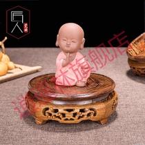 Vase cadre de base en bois massif Bouddha Fish tank étrange pierre pots de poulet aile bois Acajou ornements plateau de base ronde