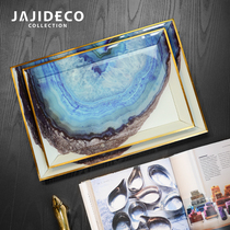 Blue agate stone pattern simple European model room living room coffee table bed jewelry storage tray ornaments
