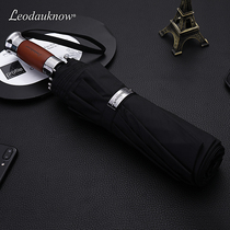 Leodauknow ten bone business wooden handle simple oversized three fold double anti-rainstorm windproof fully automatic sunny umbrella