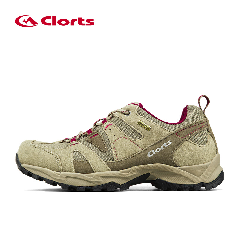 Clorts Luo Chi red hiking shoes men Autumn and winter low to help waterproof non-slip wearable lightweight outdoor hiking shoes women