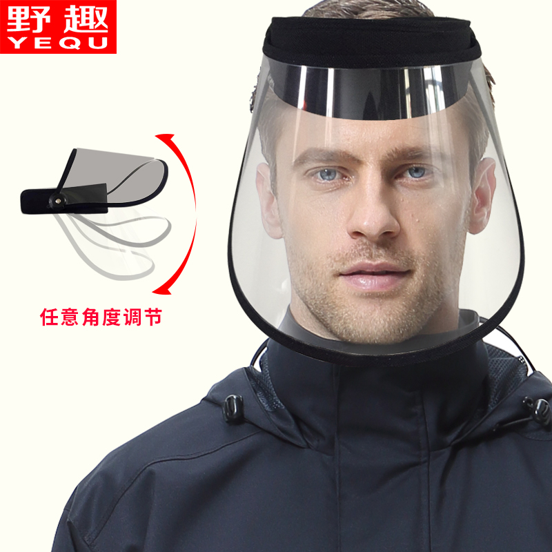 Riding helmet cover,Rain proof, wild fun rain cap Cycling with raincoat windproof dustproof transparent rain cover rain mask Double layer can be adjusted
