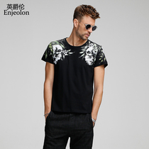 Engelen 2018 summer men's trend skull plant print short-sleeved T-Shirt T-Shirt half-sleeves top