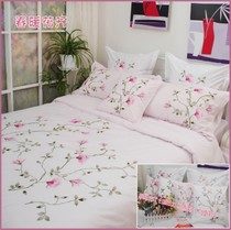 Special foreign trade brand cotton bed products fresh embroidery quilt cover four pieces 1.5 bed 1.8 bed Spring flowers