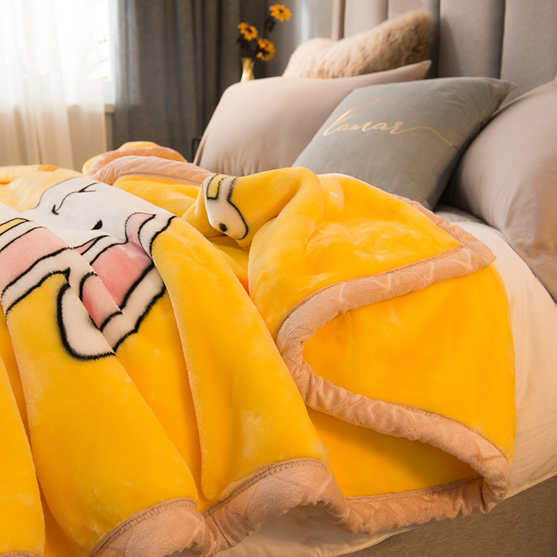 Double-layered thick blankets are coral velvet 牀 single-person student dormitory french velvet winter warm nap blankets