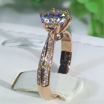 Mossan stone ring female 18K white gold rose gold 1 carat D color simulation diamond ring couple jewelry luxury wedding ring girl