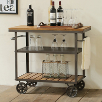 American Iron solid wood dining car fashion wine trolley creative mobile small dining car wine rack exquisite restaurant cabinets