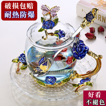 Red linlang flag Enamel color tea cup hand water cup glass cup home cup creative trend European
