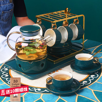 Flower tea set set flower tea cup Nordic-style boiled fruit teapot candle heating English afternoon tea set