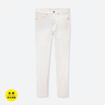 Женские брюки с высокой талией slim fit джинсовые укороченные (моющиеся изделия) 418865 Uniqlo UNIQLO