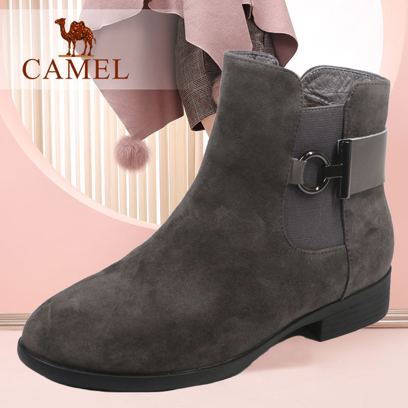 Camel/Camel Women's Shoes Simple Comfortable Casual Shoes in Winter 2018 Grinded Cotton Shoes in Cotton Leather Fashion
