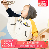 PawinPaw cartoon bear childrens clothing autumn male baby hooded cloak baby hit color coat