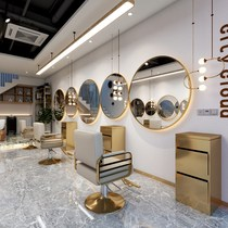 Trendy round barbershop mirror table with lamp Semicircular wall-mounted hair salon hair cutting special mirror Hot dyeing table one