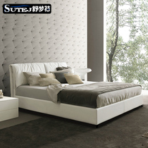 Leather bed leather bed Nordic simple modern master bed 1 8 M 1 5 double pneumatic storage solid wood soft package marriage bed