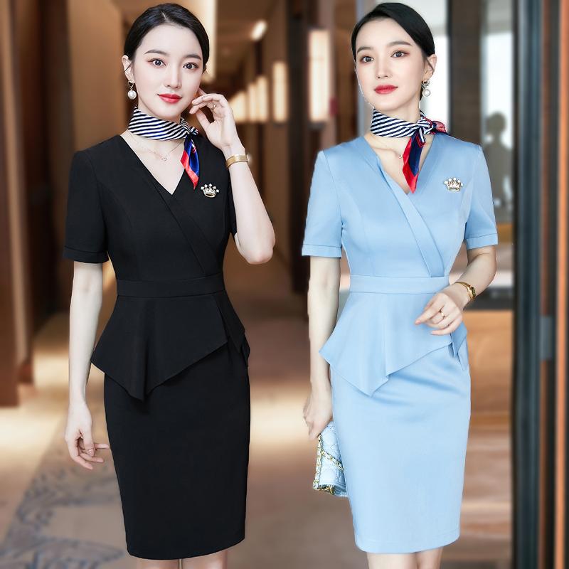Beautician work clothes professional dress women summer temperament fashion new goddess fan gold jewelry shop frock