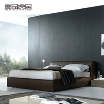Nordic leather bed modern minimalist leather double bed master couch tatami 1 8 Solid wood storage marriage bed custom