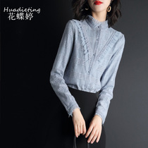 Womens lace blouse loose spring 2020 new womens stand collar design niche shirt western long-sleeved shirt