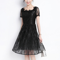 Large women's 2018 new fat mm summer lace dress fat fairy mid-length skinny hide meat 200 kg