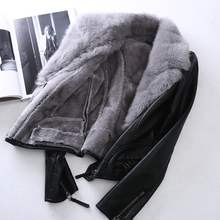 Fur collar, short leather, leather, women, velvet, thickening, winter Han edition, PU, leather jacket, long sleeves, slim and slim.