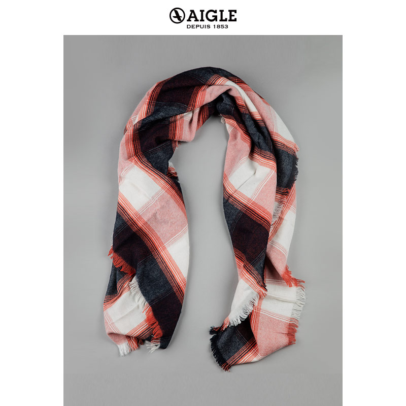 Ms. AIGLE Classic Checkered Square Towel CHECKYWOOL
