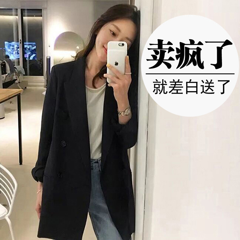 Black suit jacket womens spring 2021 new Korean version of loose net red casual professional fashion small suit top