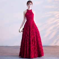 Toast new Long wine red 2017 bride wedding dress back dress party evening gown autumn winter
