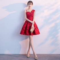Bride to toast 2018 new summer red short engagement wedding celebration Party Dress skirt