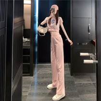 Casual fashion suit womens summer 2021 new brand-name sportswear Yang Qi slim net red age reduction two-piece set
