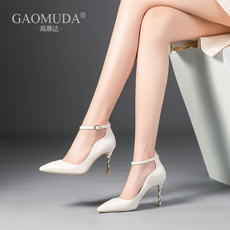 2018 autumn new stiletto heels sexy fashion women's shoes shallow mouth pointed word buckle with thin single shoes women