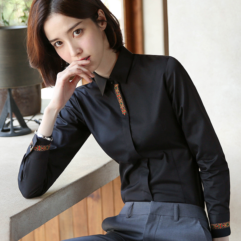 European station black shirt female design sense small crowd long-sleeved old work clothes work clothes spring and autumn new top