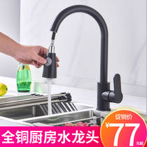 Pull-out hot and cold water faucet kitchen wash basin full copper retractable Rotary laundry table sink sink home