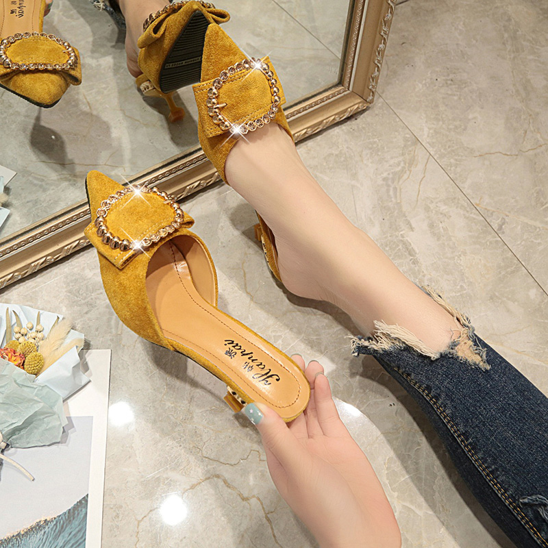 Slim-heeled high-heeled Baotou semi-slippers for women fashion wearing the new soft shoes fairy shoes of 2019