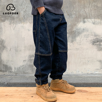 Childrens suit boys plus-down jeans 2020 new big childrens autumn winter cotton pants boys one-piece velvet pants tide