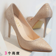 2017 spring and autumn glitter golden high-heeled shoes OL shoes with pointed shoes with fine silver all-match Bridesmaid Wedding Shoes