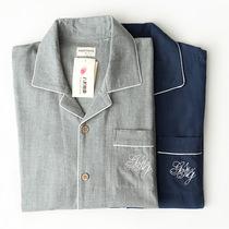 Весной и осенью хлопок любителей с длинным рукавом пижамы вышивка двуслойная хлопка марлевые мужчин двухкомпонентной дома износа