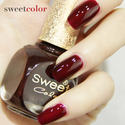 Sweet color red wine foot nail polish Korea lasting strippable permanent waterproof beginners red