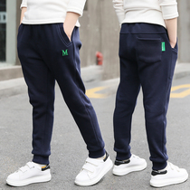Boys sports pants spring and autumn 2020 new spring childrens casual pants in the Big child plus velvet thick pants