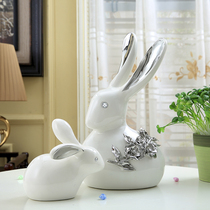 XiangRuiYu Rabbit creative rabbit ornaments home jewelry ceramic fashion living room wine cabinet bedroom crafts decoration