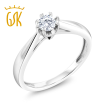 US imports 18K Gold diamond ring 15 points drill large carat effect flowers real diamond ring rings wedding ring Woman