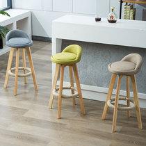 Bar chair Nordic modern minimalist home solid wood bar chair high stool bar stool bar stool back leisure chair