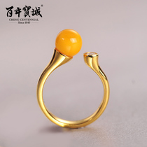 Hundred years Baocheng beeswax 925 Silver Ring female gold plated forefinger open ring fashion temperament simple send girlfriend